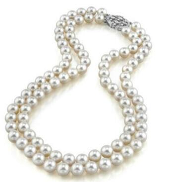 necklace Free shipping +++ double strand 8-9mm south sea white pearl necklace
