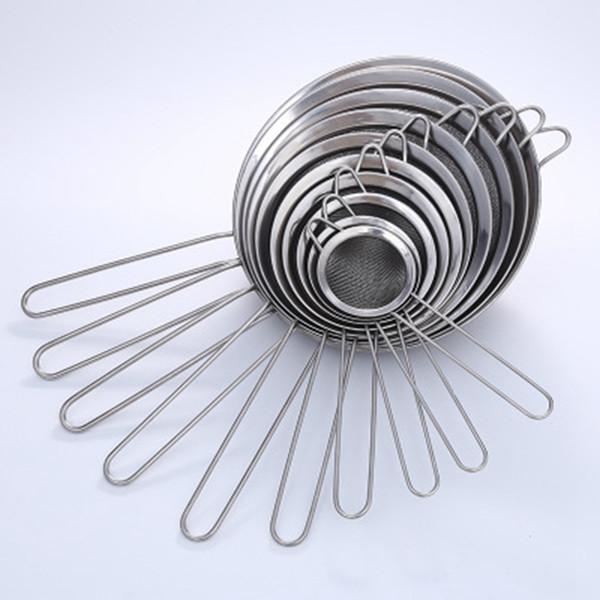 De acero inoxidable de malla fina Colador Colador Tamizar la harina con el jugo de la manija y tamiz del té de utensilios de cocina ZZA1607
