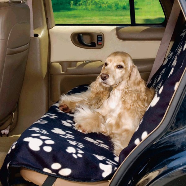 Fleece Print Cover Dog Car Back Seat Pet Travel Outdoor Cushion Mats Accessories Environmental Soft For Small Medium Large Dogs