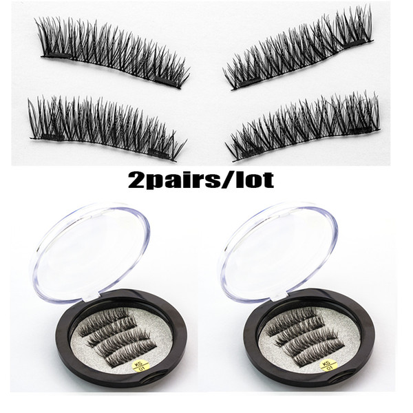 2Pairs/lot Magnetic eyelashes with 2 magnets handmade 3D/6D magnet lashes natural false eyelashes comfortable with Gift Box