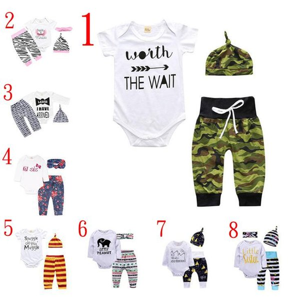 Baby girl INS letters rompers suit 7 Style Children Short sleeve triangle rompers+paillette shorts+bowknot Hair band 3pcs sets clothes Q-01
