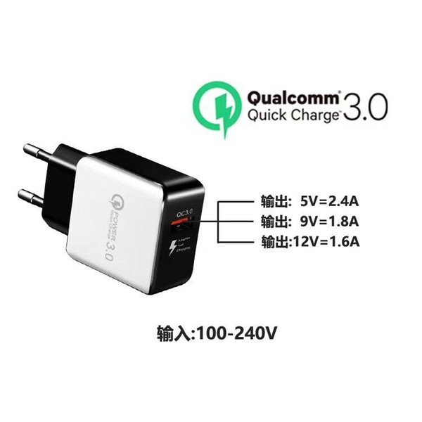 QC 3.0 Fast Wall Charger USB Quick Charge Travel Power Adapter US EU Plug iphone charger for iPhone Xr xs max Samsung S10 S9 android phone