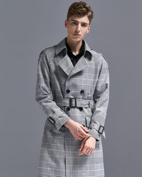 Mens Trench Long Plaid Ветровка мужская крупноразмерных осень зима новый двойной Breasted плед пальто куртки длинные пальто Мужчины тренчкот Мужчины S-6XL
