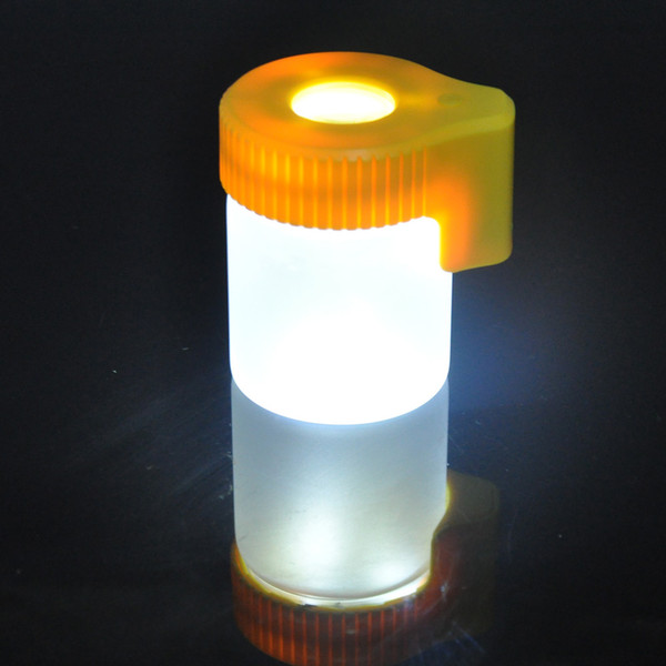New Arrive Plastic Glass Light-Up LED Air Tight Proof Storage Magnifying Jar Viewing Container 155ML Multi-Use Plastic Pill Box Bottle Case