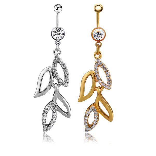 Diamante hojas ombligo anillo Diamantes Ombligo Anillo Barbell diseño de la personalidad Cuerpo Joyas Joyería en forma de Vid