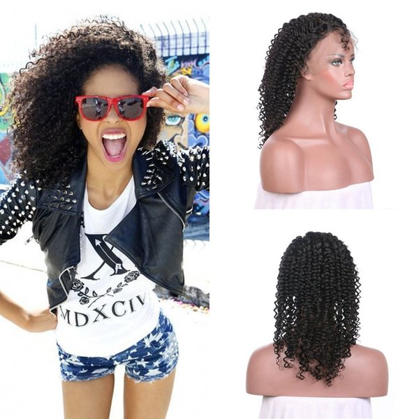 150% Density Afro Kinky Curly Lace Front Wigs With Baby Hair Ear To Ear Brazilian Indian Virgin Human Hair
