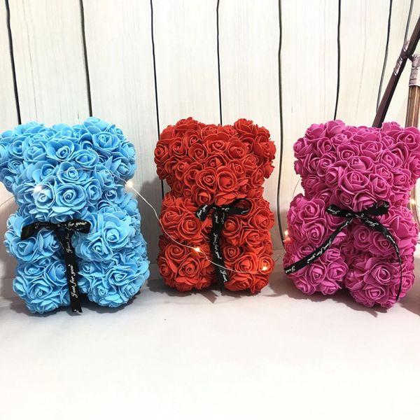 Ours en peluche Rose cadeau Saint Valentin Rose Fleur artificielle Décoration de Noël Femmes Saint-Valentin cadeau