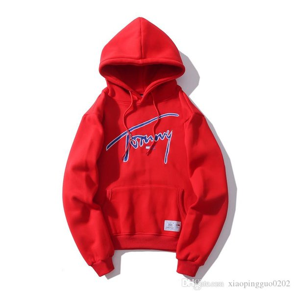 2018 new big name LOGO letter printing embroidery solid color long sleeve head hooded sweater men and women jacket