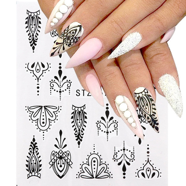 8 Sheets/set Flower Nail Stickers Simple Flower Transfer Decal Tatoos Manicure Nail Art Decor Wraps