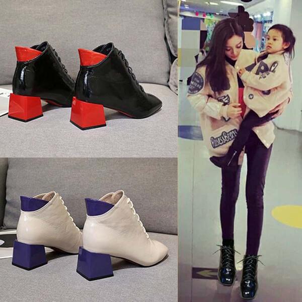 2019 Leather PU di autunno nuova delle donne Tacchi alti stivali donna inverno Stivali Scarpe caviglia per le donne Chaussure Bottes Femme