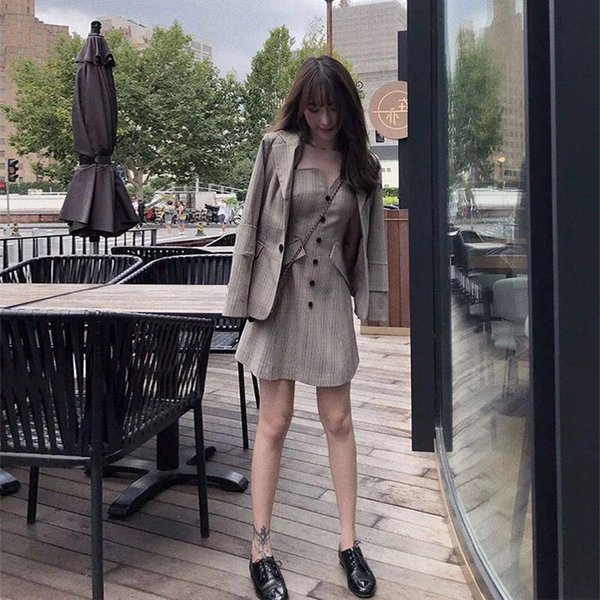 New fashion women's British style OL suit straps tube top dress suit plaid long section small jacket two-piece