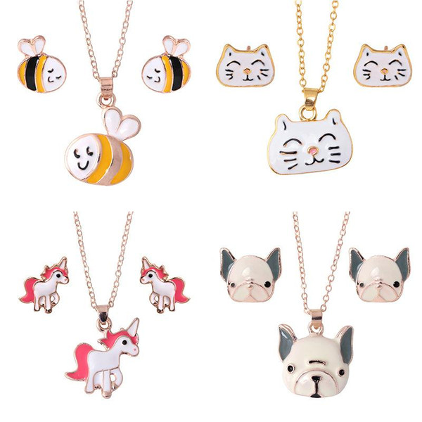 Jewelry Set Chain Kids Women Cartoon Bee Cat Dog Horse Unicorn Necklace Earring Sets For Girls Party Jewelry Sets