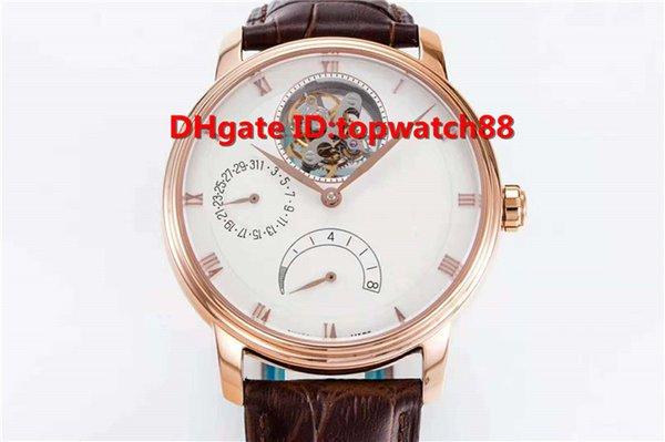 JB Top Luxury 6025 Real tourbillon Men Wristwatch Cal.25 Automatic Date Display Power reserve Sapphire Rose Gold Case Leather Strap Watch