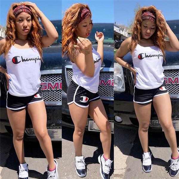 Champion с принтом спагетти жилет шорты спортивный костюм бренда дизайнер футболка без рукавов + шорты 2 шт комплект GYM костюм костюм спортивная одежда