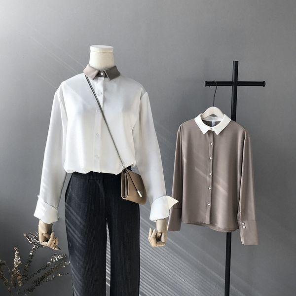 2019 frauen weiße bluse niedlichen kragen langarm damen tops und blusen frauen chiffon shirts blusas roupa feminina tops sh190816