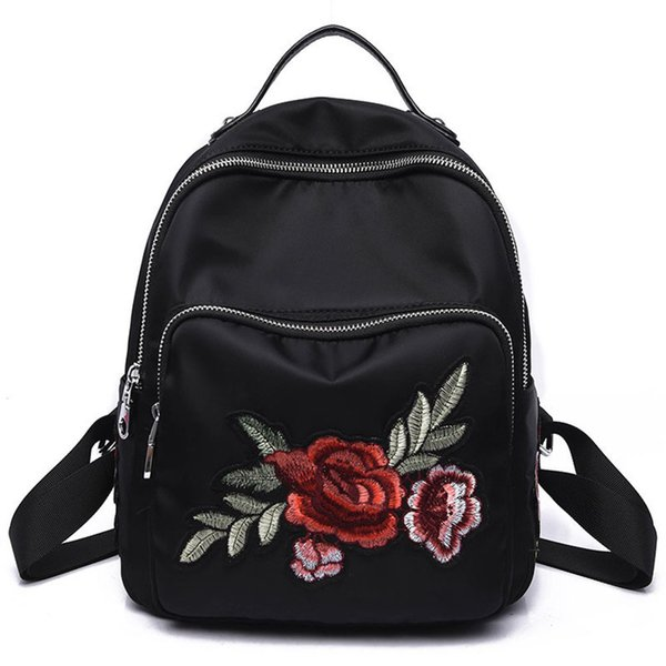 Simple Fashion Ladies Girls Oxford Shoulder Bags Gifts Popular Women Zipped Flowers Dragonfly Embroidery Travel Backpack good quality