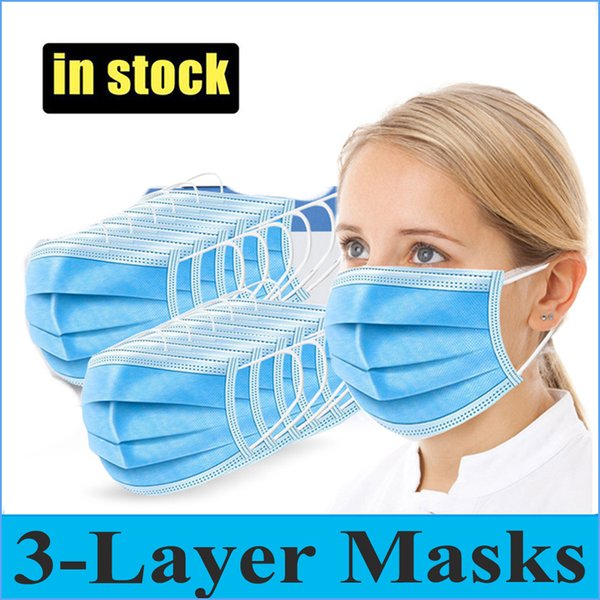 top popular Disposable Face Mask 3 Layer Ear-loop Dust Mouth Masks Cover 3-Ply Non-woven Disposable Dust Mask Soft Breathable outdoor part Daily use 2020