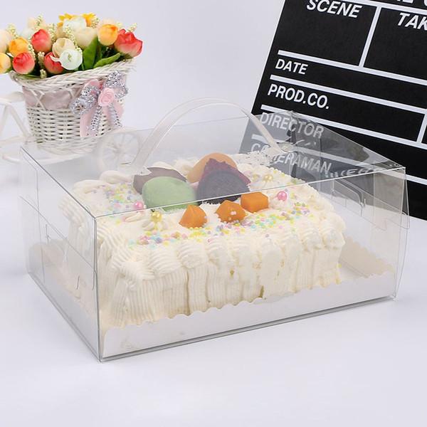 PET transparente transparente caja de embalaje de la torta de cumpleaños de la manija cajas al por mayor