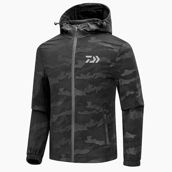 Açık Rüzgar Geçirmez Su Geçirmez Balıkçılık Giyim İlkbahar Sonbahar Balıkçılık suit Kamuflaj Kapüşonlu erkek ceket Daiwa