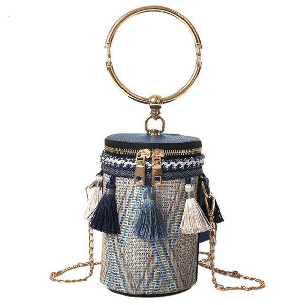 Date coréen pompon Chic chaîne sauvage sac de seau de paille épaule Ins mode Messenger sacs à main pour les femmes 3 couleurs