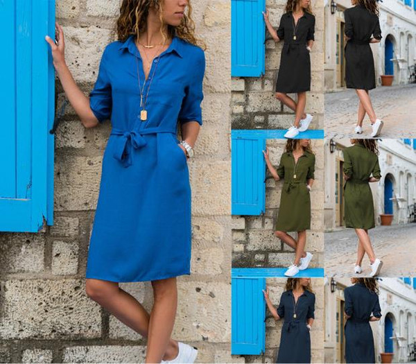 2019 European autumn and winter lapel solid color cropped sleeve shirt dress, black, blue, military green, support mixed batch