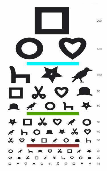 Childrens Eye Chart Square Circle Heart Art Silk Print Poster 24x36inch(60x90cm) 016