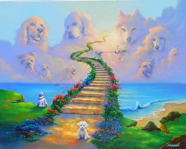 Fantezi Sanat Köpekler Git Cennet, Tuval Modern Ev Sanat Dekor üzerinde Yağlıboya Resim Üreme Yüksek Kaliteli Giclee Baskı
