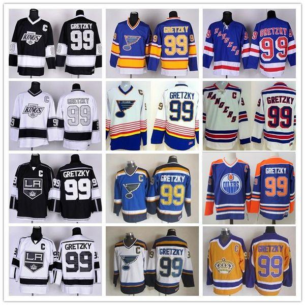 HOT Men New York Rangers 99 Wayne Gretzky Jerseys Hockey St Louis Blues LA Los Angeles Kings Vintage Azul Blanco Negro Amarillo Naranja Cosido