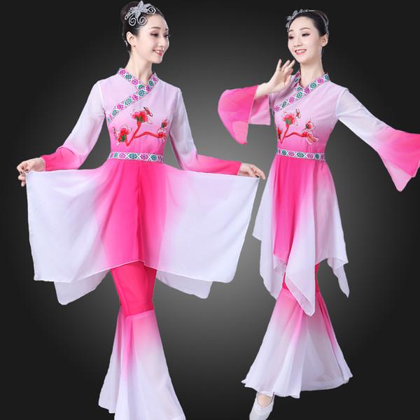 여성의 고전 무용 의상은 우아한 스퀘어 댄스 새로운 스타일의 정장 숙녀 'Yangko 현대 팬 의상 옷