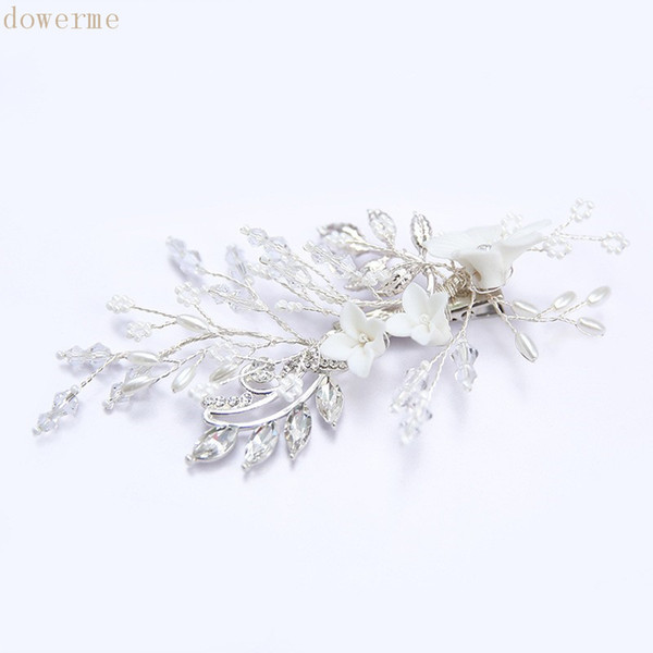 wholesale Delicate White Floral Bridal Hair Comb Women Headpiece Pearls Wedding Hair Clip Vine Hair Accessories For Bride