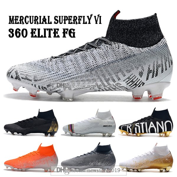 Neymar 2019 Mens High Tops Football Boots Superfly 6 Elite FG Soccer Shoes CR7 Mercurial Superfly VI 360 ACC Soccer Cleats