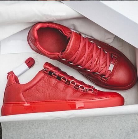 Yeni Stil Nedensel Ayakkabı Adam Beyaz Kırmızı Buruşuk Low Cut Sneaker Moda Arena TasarımcıBalenciaga Shoes Drop Shipping Size 39-46