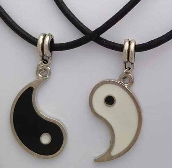 Holiday gifts - Yin Yang Necklaces 2 Pendants Best Friend Lovers YING YANG Necklace Set couple Leather Necklace DIY Jewelry Gift - 55