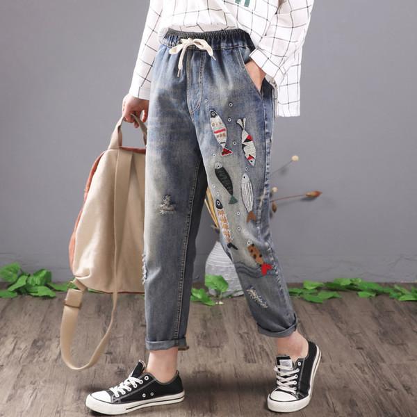 Qpfjqd Women Vintage Fish Embroidered Jeans Ripped Cotton Denim Harem Pants Casual Ladies Lace Up Elastic Waist Trousers Blue J190626