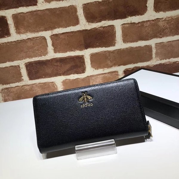 2019 Top Quality Celebrity design Letter Bee Metal Buckle Zipper wallet Long Purse Black Cowhide Leather 523667 Clutch