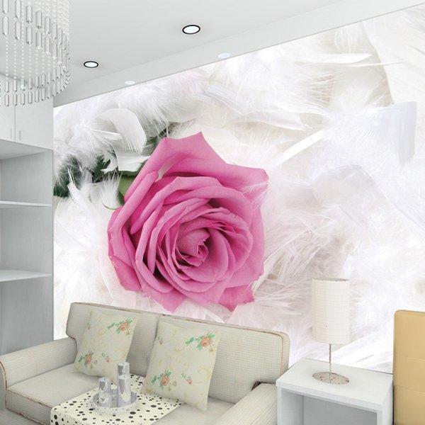 Benutzerdefinierte 3D Foto Tapete Rose Blume TV Hintergrund Große Wand Wohnzimmer Schlafzimmer Vlies Wandbild Tapete De Parede 3D