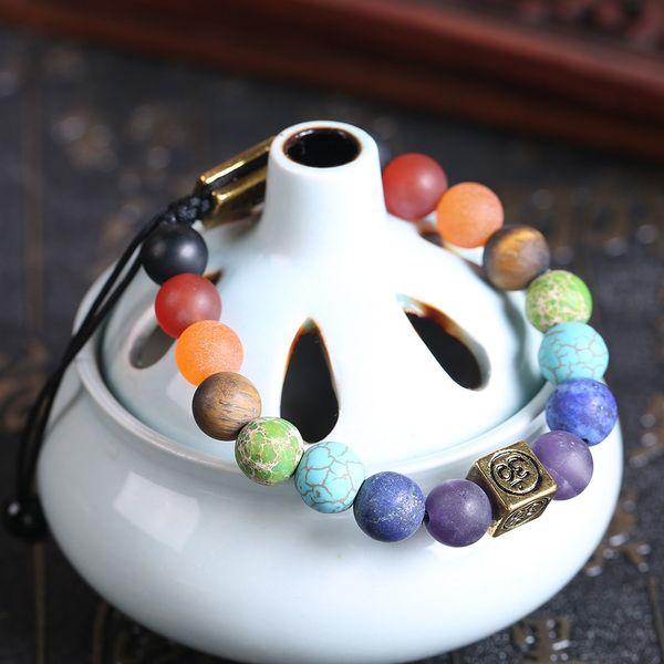 Hot 10pc/set 7 chakra bracelet yoga energy charm 8mm size tree of life bracelet for men women mom gift adjustable Rope Bracelet Bangles