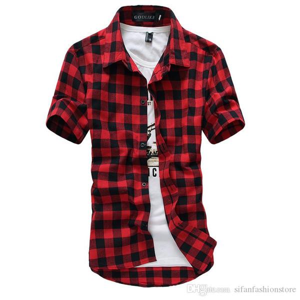 Rouge Et Noir Chemise À Carreaux Hommes Chemises 2019 Nouvel Été De Mode Chemise Homme Hommes Chemises À Carreaux À Manches Courtes Chemise Hommes Blouse