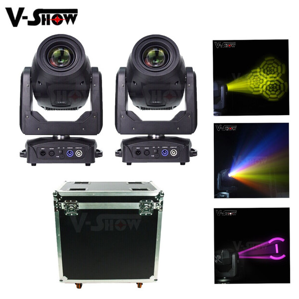 top popular 2pcs with case 200W Moving Head Light Led Beam Spot Wash 3in1 Stage Light Dmx Dj stage Light For Bar Club disco party 2021