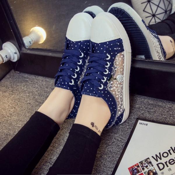 2019 новая сетка женская обувь летние студенты корейской версии случайных плоских полых холст обувь