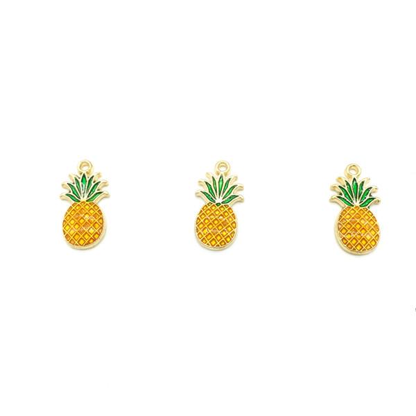 Charm Anhänger Ananas Gold Farbe Gelb Grün Emaille Frucht Charms für Schmuck Handgemachten Schmuck, Die Entdeckungen Großhandel 40 teile / los