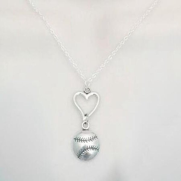 Vintage Silver Heart Softball Baseball Necklace Pendant Charm Statement Choker Friendship Necklaces Men Women Jewelry DIY Party Gift
