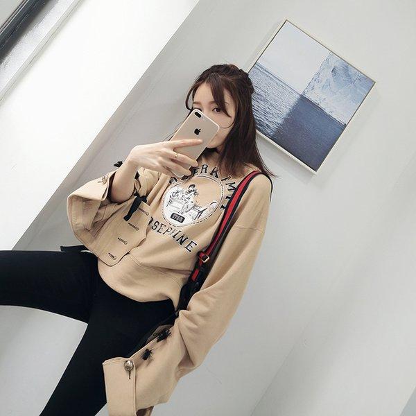2019 Yeni Baskı Tasarım Olacak Horn Kolsuz Kazak Kadın marka spor hoodies pamuk eşofman t-shirt kadın ücretsiz kargo emoji giysi