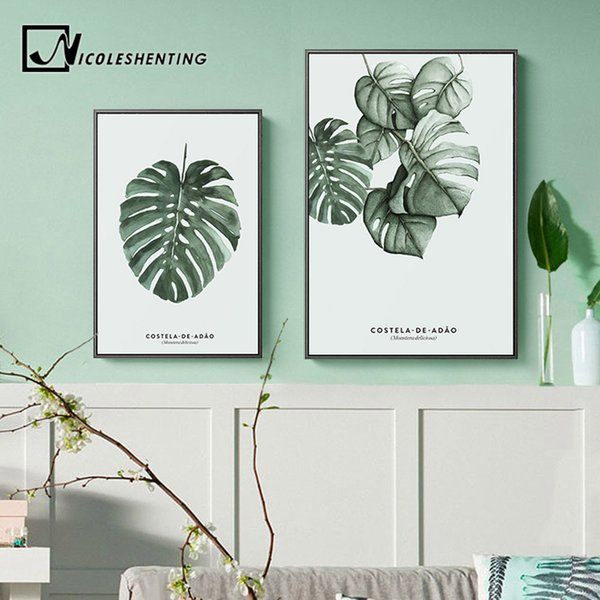 Watercolor Plants Leaves Vintage Posters Wall Art Canvas Prints Nordic Style Painting Wall Pictures for Living Room Home Decor