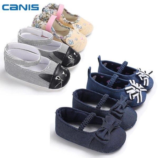 2018 Brand New Newborn Infant Toddler Baby Boy Girl Soft Sole Cuna Zapatos Sneaker Bow Cat Cute First Walkers Zapatos casuales