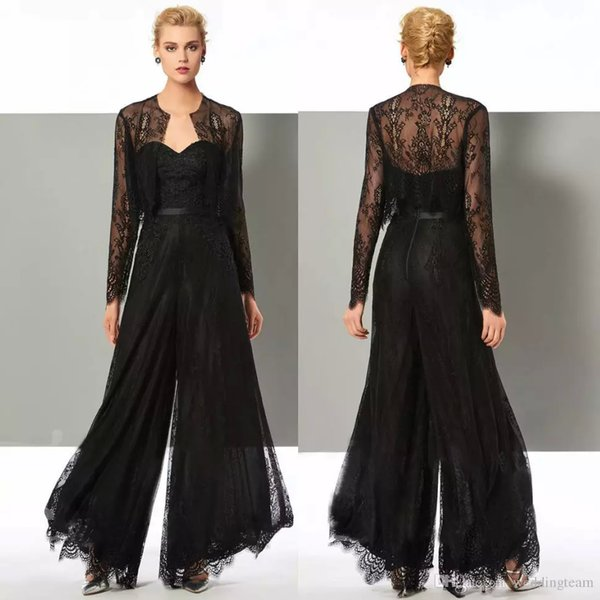 Chic Black Lace Jumpsuit Mother Of The Bride Pant Suits Sweetheart Neck Wedding Guest Gowns With Jackets Plus Size Mothers Groom Dresses