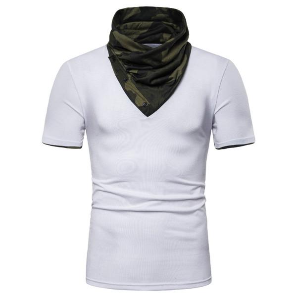 Erkek Kamuflaj Sahte İki Adet Tshirt Kapşonlu Yüksek Yaka Kısa Kollu Erkek Tasarımcı Genç Moda Tees Tops