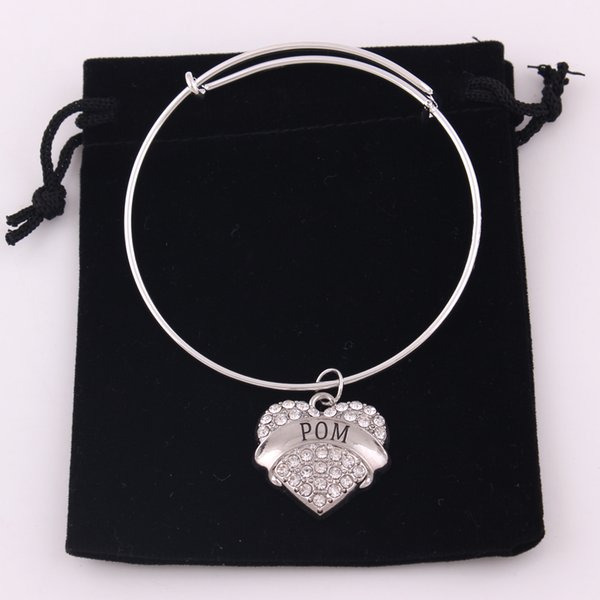 TX0023 Factory direct sales shiny zircon heart shape charm pom my girl bracelet adjustable bangles for girlfriend gift jewelry