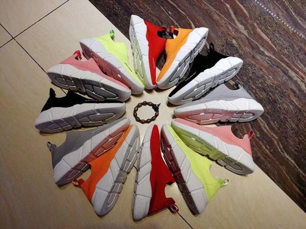2019 Designer de Velocidade Trainer Das Mulheres Dos Homens de Alta Sock Sapatos Preto Azul Vermelho Sólida Moda de Luxo Botas Formadores Corredor Andando tênis 35-45 0310