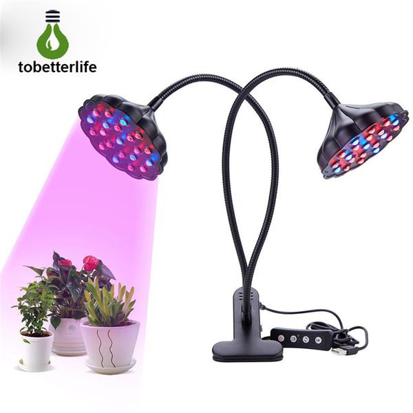 Lotus Grow Light - Lámpara de cultivo de doble cabeza de 20W con 42 LED Rojo Azul Spectrum 360 ° Clip de cuello de cisne Luz de crecimiento para plantas de interior Hidroponía